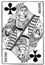 picture card - one of the twelve cards in a deck bearing a picture of a face
