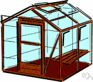 glasshouse - a building with glass walls and roof