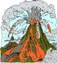 belch - become active and spew forth lava and rocks