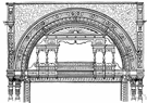 drop arch - a blunt pointed arch drawn from two centers within the span