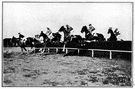 steeplechase - a footrace of usually 3000 meters over a closed track with hurdles and a water jump