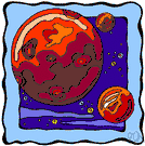 Mars - a small reddish planet that is the 4th from the sun and is periodically visible to the naked eye