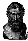 Epicurus - Greek philosopher who believed that the world is a random combination of atoms and that pleasure is the highest good (341-270 BC)