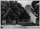 lichgate - a roofed gate to a churchyard, formerly used as a temporary shelter for the bier during funerals