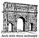 arch - a passageway under a curved masonry construction
