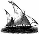 lateen - a triangular fore-and-aft sail used especially in the Mediterranean