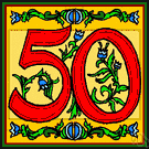 50 - the cardinal number that is the product of ten and five