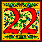 22 - the cardinal number that is the sum of twenty-one and one