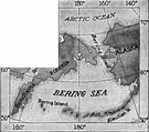 Bering Strait - a strait connecting the Bering Sea to the Arctic Ocean