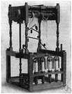spinning frame - spinning machine that draws, twists, and winds yarn