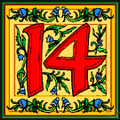 XIV - the cardinal number that is the sum of thirteen and one