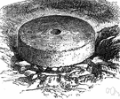 millstone - one of a pair of heavy flat disk-shaped stones that are rotated against one another to grind the grain