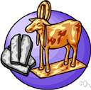 golden calf - (Old Testament) an idol made by Aaron for the Israelites to worship