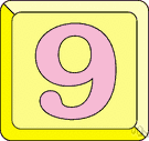 9 - denoting a quantity consisting of one more than eight and one less than ten