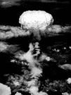 mushroom-shaped cloud - a large cloud of rubble and dust shaped like a mushroom and rising into the sky after an explosion (especially of a nuclear bomb)