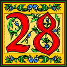 28 - the cardinal number that is the sum of twenty-seven and one