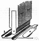 channel - a long narrow furrow cut either by a natural process (such as erosion) or by a tool (as e.g. a groove in a phonograph record)
