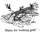 sluice - conduit that carries a rapid flow of water controlled by a sluicegate