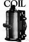 ignition coil - an induction coil that converts current from a battery into the high-voltage current required by spark plugs