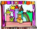 scene - the painted structures of a stage set that are intended to suggest a particular locale