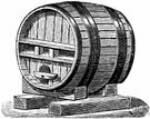 barrel - a cylindrical container that holds liquids