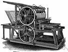 cylinder press - a printing press where the type is carried on a flat bed under a cylinder that holds paper and rolls over the type