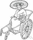 cycle rickshaw - a tricycle (usually propelled by pedalling)