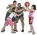 block - impede the movement of (an opponent or a ball)