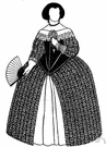 farthingale - a hoop worn beneath a skirt to extend it horizontally