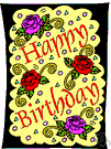 birthday card - a card expressing a birthday greeting