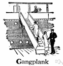 gangplank - a temporary bridge for getting on and off a vessel at dockside