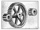pinion - a gear with a small number of teeth designed to mesh with a larger wheel or rack
