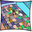 comforter - bedding made of two layers of cloth filled with stuffing and stitched together