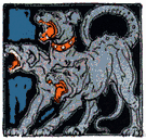 hellhound - (Greek mythology) the three-headed dog guarding the entrance to Hades