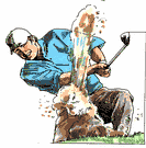 golf stroke - the act of swinging a golf club at a golf ball and (usually) hitting it