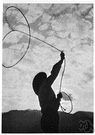 riata - a long noosed rope used to catch animals