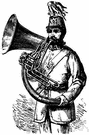 bombardon - a tuba that coils over the shoulder of the musician
