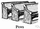 pew - long bench with backs