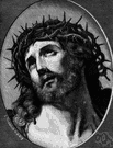 ecce homo - a representation (a picture or sculpture) of Jesus wearing a crown of thorns
