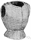 brigandine - a medieval coat of chain mail consisting of metal rings sewn onto leather or cloth