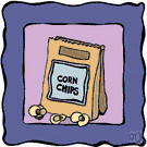corn chip - thin piece of cornmeal dough fried