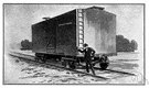 boxcar - a freight car with roof and sliding doors in the sides
