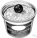 cottage cheese - mild white cheese made from curds of soured skim milk