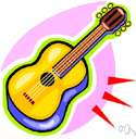guitar - a stringed instrument usually having six strings