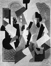 cubism - an artistic movement in France beginning in 1907 that featured surfaces of geometrical planes